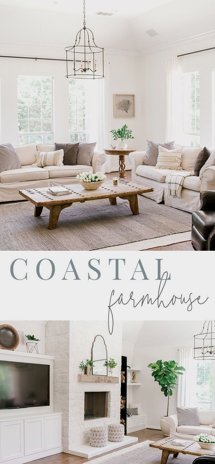 Today we are sharing my mom's latest remodel that we call the . Her living room is what we like to call coastal farmhouse.