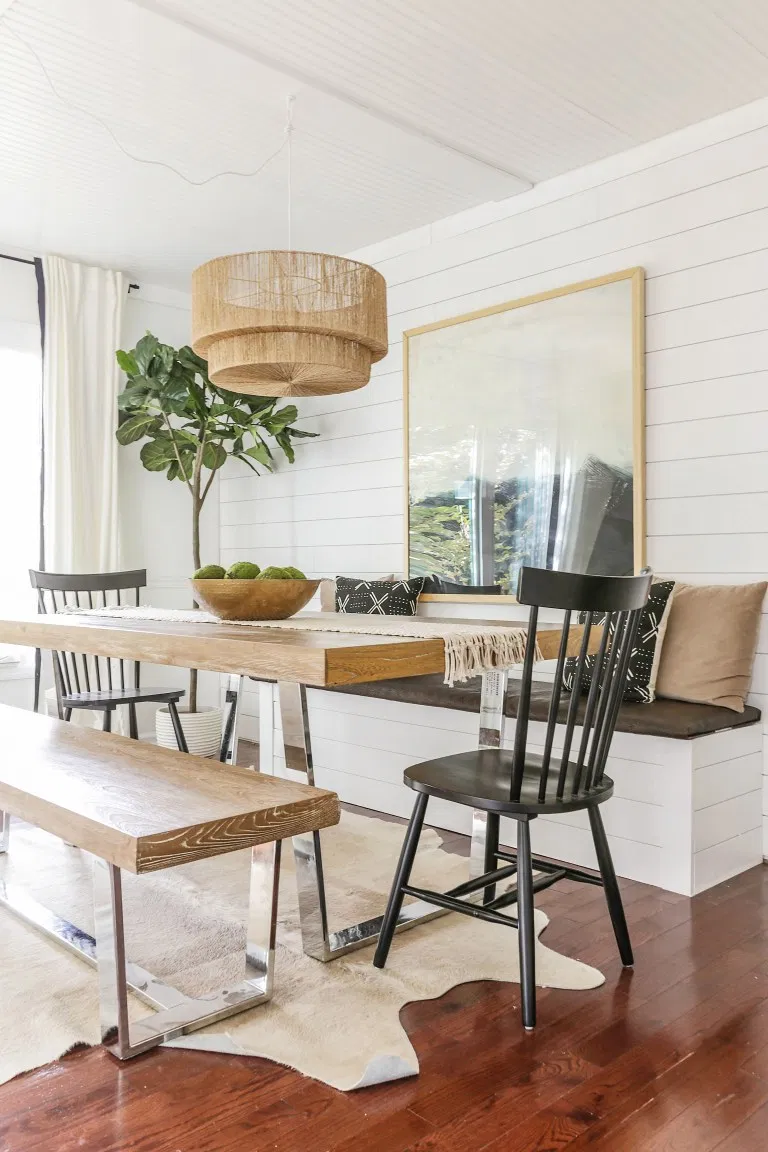 Reveal: Dining Room Office Combo with DIY Built In Storage Banquette. Love this idea for a modern farmhouse breakfast nook too.