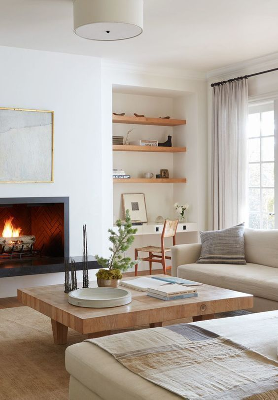 california casual design, California Casual living room decor, modern neutral living room design, modern meets traditional family room design with modern sofa and white walls and built-ins, built in bookcase…