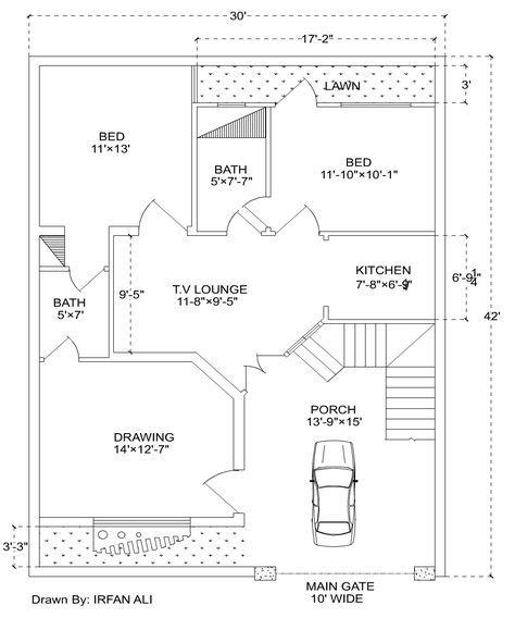 6 Marla house plan,30′ × 42′ Modern House Plan