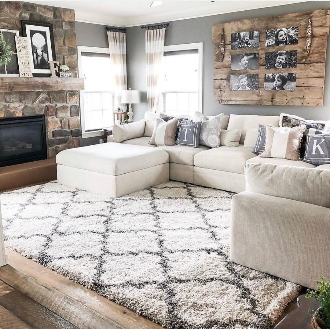 Modern Rustic Living Room Ideas Couch und Teppich