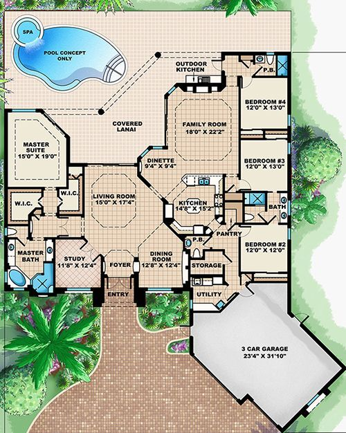 Mediterranean Plan: 3,316 Square Feet, 4 Bedrooms, 3.5 Bathrooms – 1018-00264