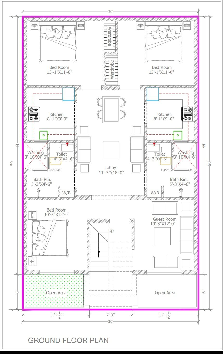 30×50 Bestie floor plan 3bhk+guest room 2seprate kitchen client praposal