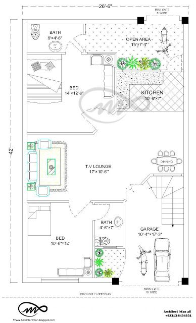 27×36 | 1000 Square Feet | 3.5 Marla House Plan And Map 27×36 feet House plan that contain two Bed with attach Bath, Open kitchen , T.V Lounge ,Dinning area…