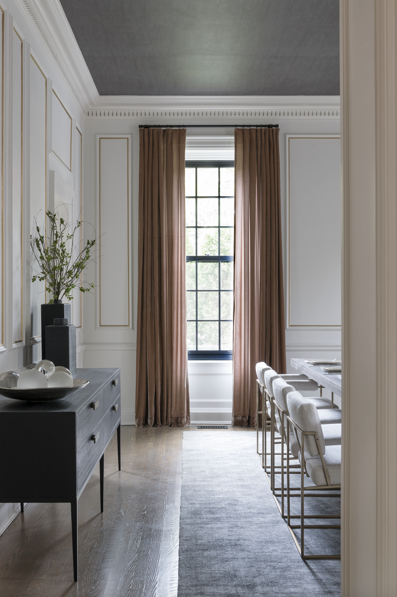 Ceiling Trends that Make a Major Statement | high dining room ceilings with dark wallpaper | The Identite Collective