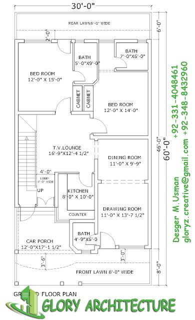 30×60 house plan,elevation,3D view, drawings, Pakistan house plan, Pakistan house elevation,3D elevation ~ Glory Architecture