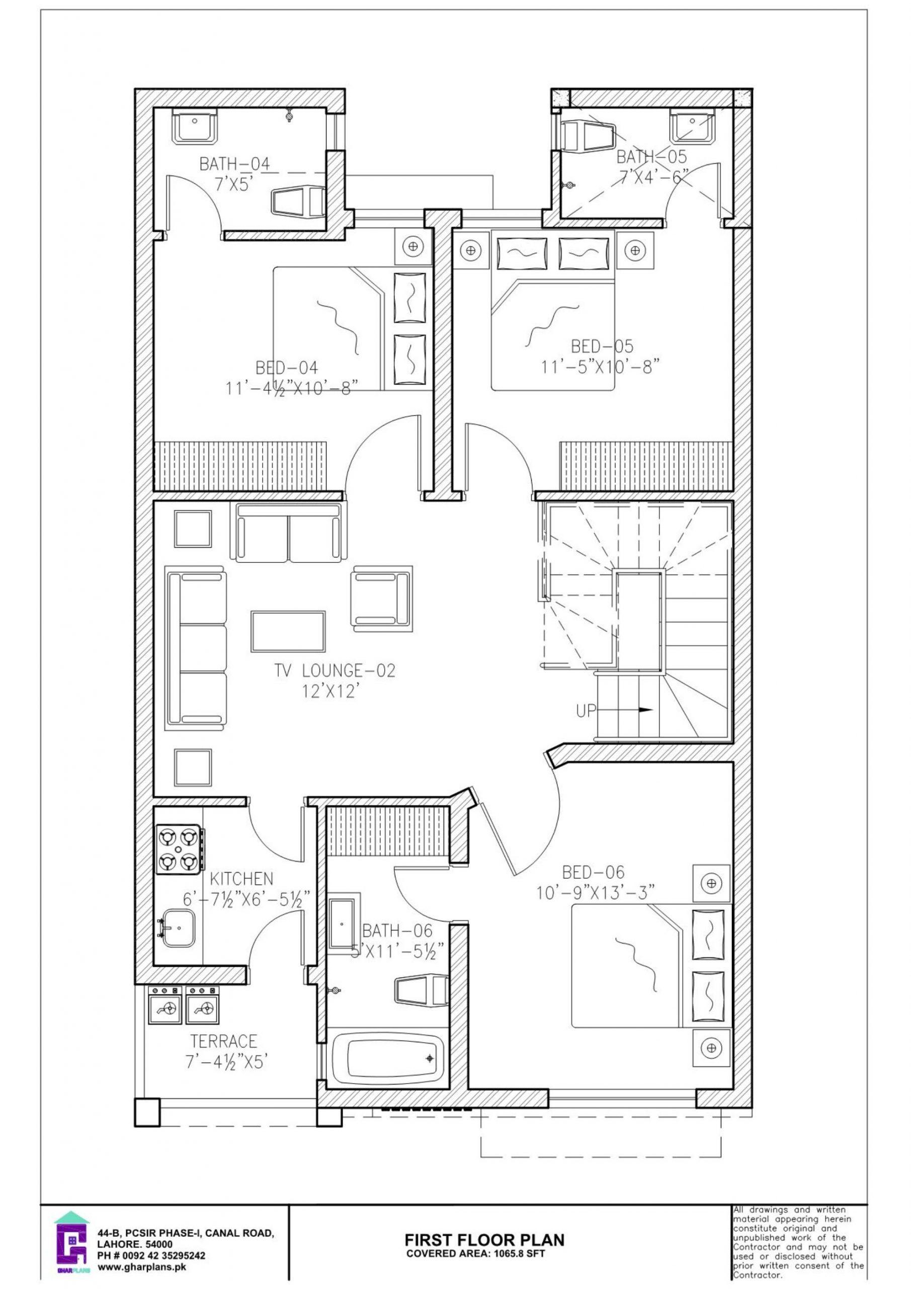 6 Bedroom 5 Marla First Floor Plan