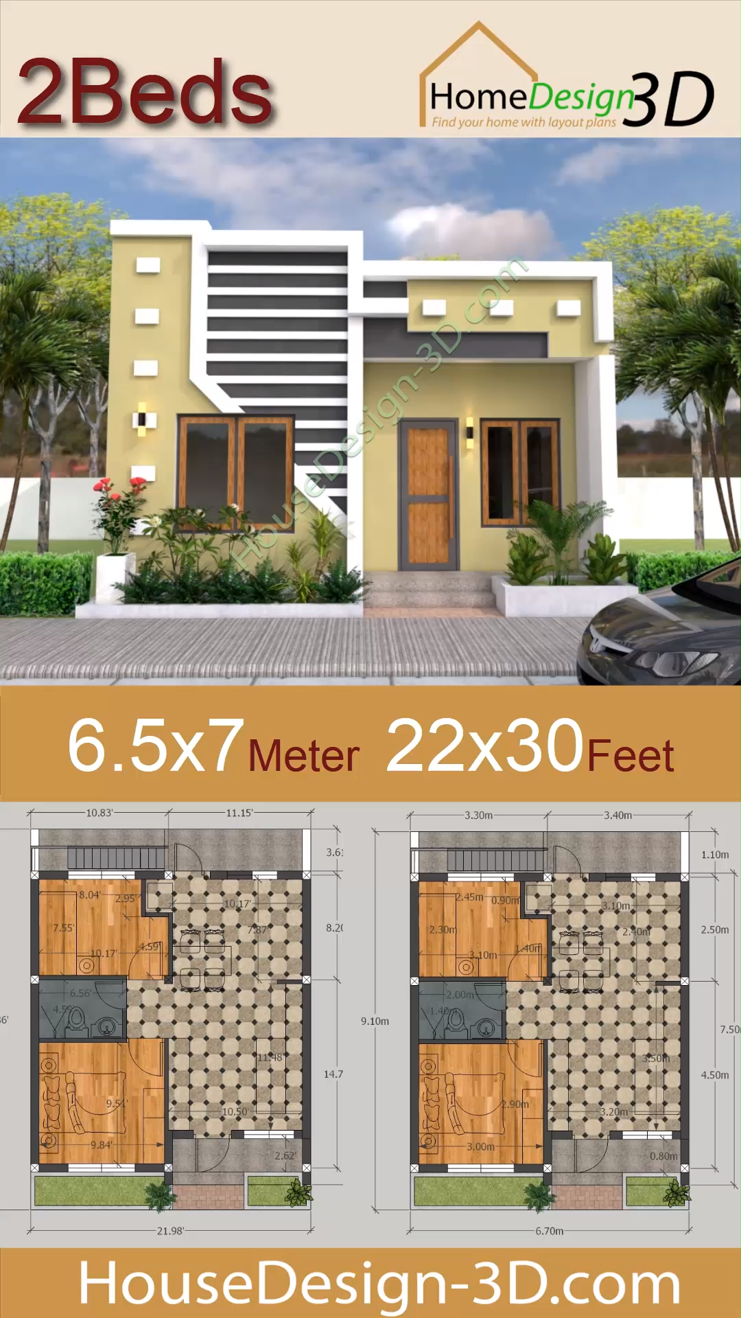 Small House Design 6.5×7 Meter with 2 Bedrooms 22×30 feet