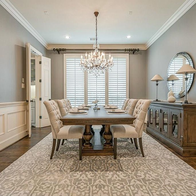 Dining room painted Sherwin Williams Dovetail with Sherwin Williams Antique White trim and ceiling – Carla Aston, How to go gray when your whole house is beige