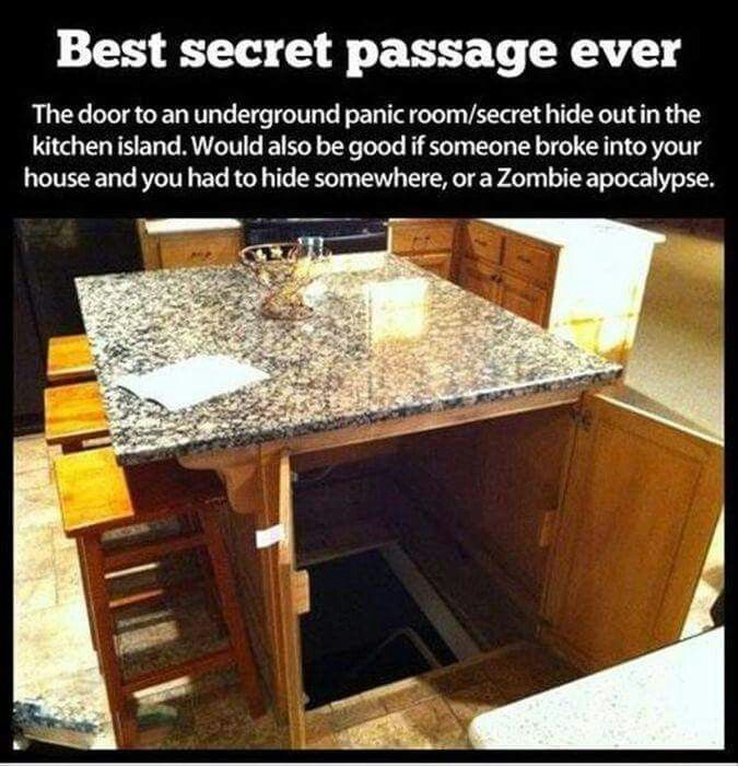 Hidden safe room in the kitchen island!