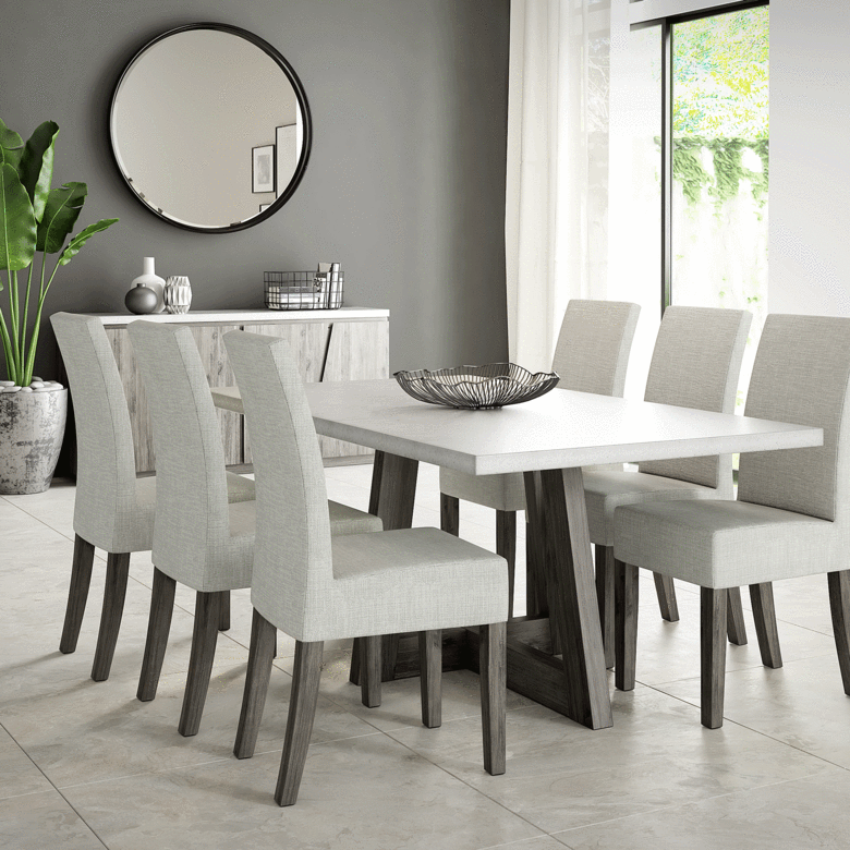 The Austin Dining Set offers clean lines with a concrete table top, upholstered seats and solid acacia wood. Its on-trend style fits into most settings, making a bold statement with its…