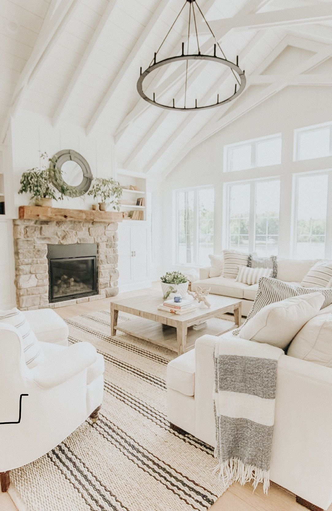 Modern Farmhouse Living Room – White Painted Beams – Home Decor – Interior Design – White couches living room