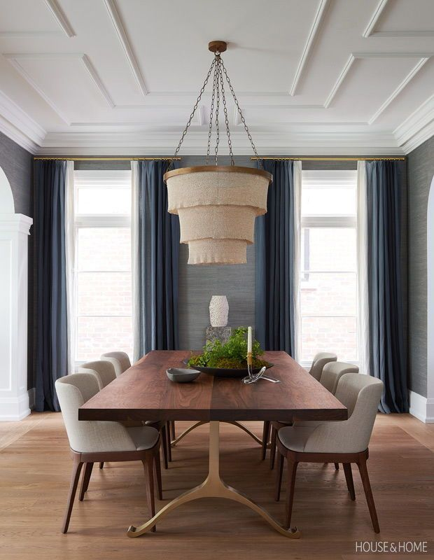 Silvery blue grasscloth wallpaper and ombré drapery make the dining room cozy. | Photographer: Alex Lukey | Designer: Erin Feasby & Cindy Bleeks, Feasby & Bleeks Design