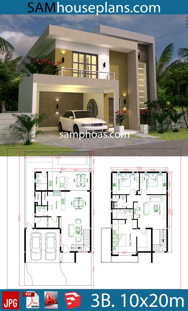 Planos de la casa Parcela 10x20m con 3 habitaciones – Sam House Plans