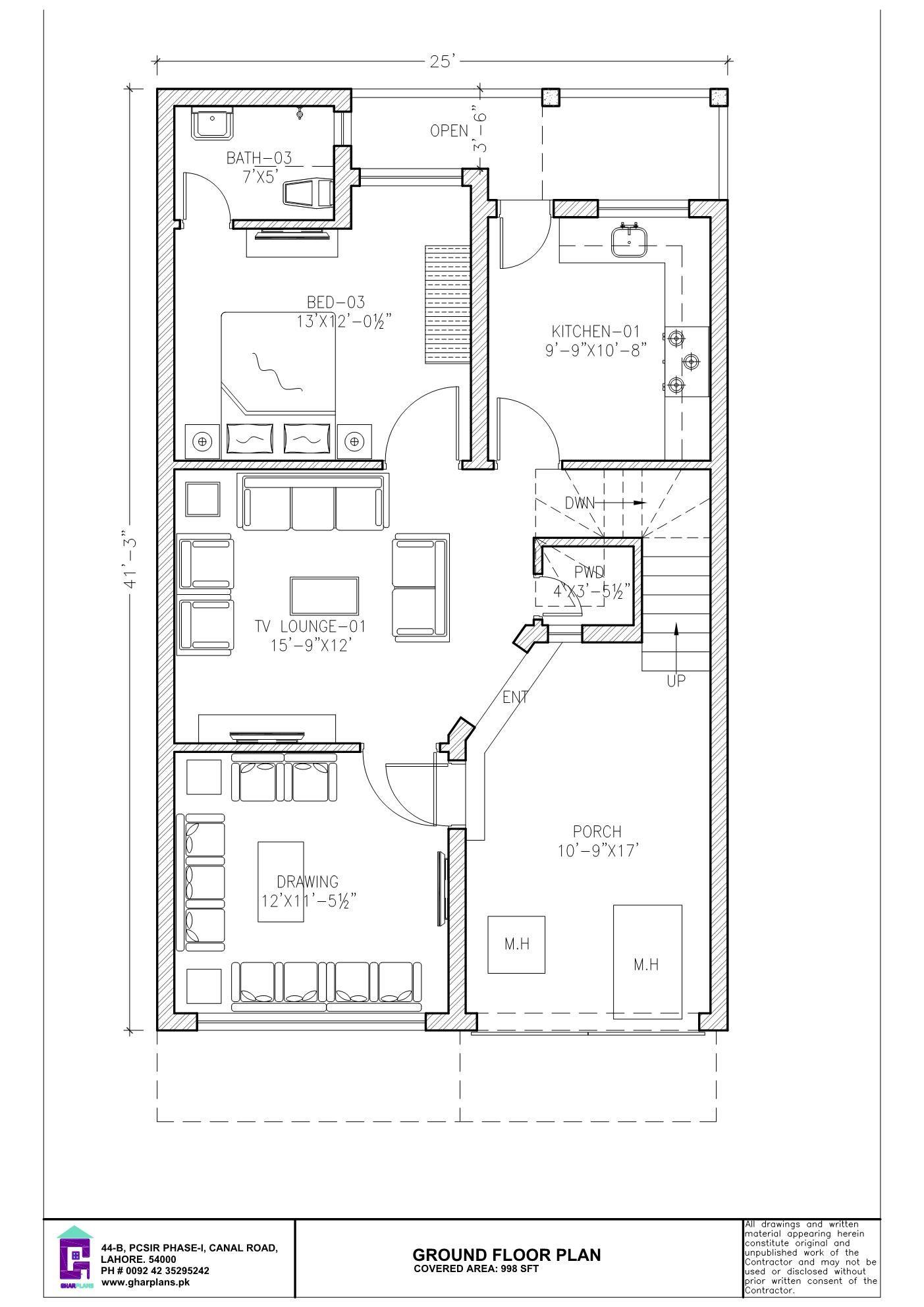 6 Bedroom 5 Marla Ground Floor Plan