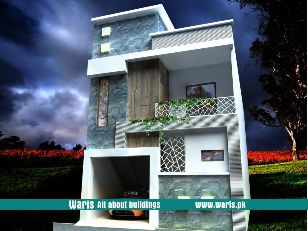 Waris House 5 Marla 3d View Elevation 25X50 in Gujranwala Cantt, Pakistan.