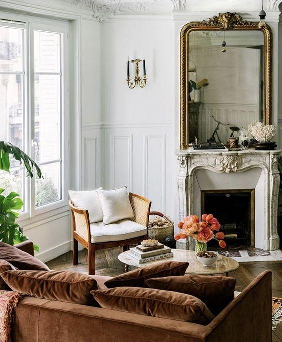 A beautiful living room setting in a Parisian apartment.