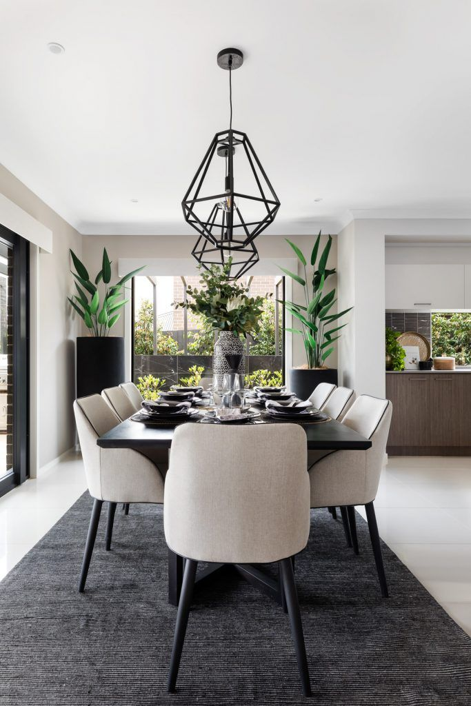 Wanderlust – where bohemian global adventure meets elegant, modern styling. Black pendant lights in dining room, boho luxe dining room, stylish dining room
